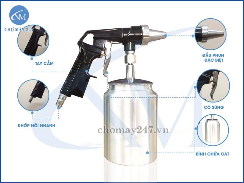 Thiết kế súng phun cát cầm tay PS-1 tối ưu với bình chứa đi kèm